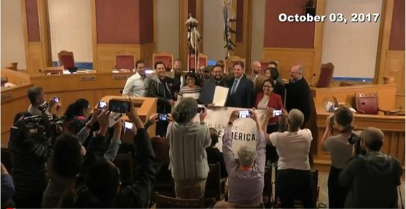 People celebrate after the Salt Lake City Council passes the resolution to designate Oct. 9 as Indigenous People's Day.