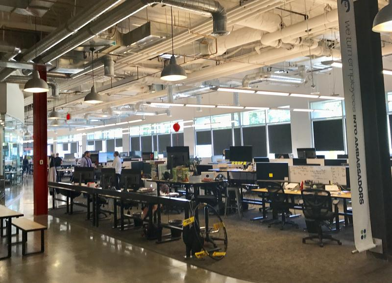 A row of empty desks at Qualtrics HQ in Provo. The company moved into the new building last year after it outgrew its old space.