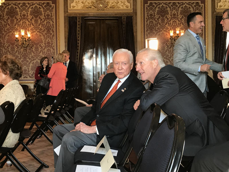 Sen. Orrin Hatch speaks with Utah Senate President Wayne Neiderhauser at the capitol on Saturday, Oct. 7.