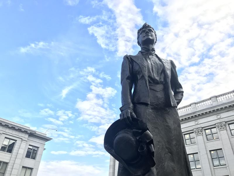 A statue of Marth Hughes Cannon currently sits in the courtyard outside the Utah State Capitol. A state lawmaker wants to send her to the U.S. Capitol.
