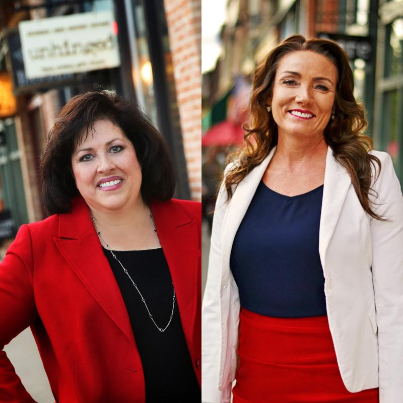 Sherrie Hall Everett, left, and Michelle Kaufusi, right, are running to be the next mayor of Provo.