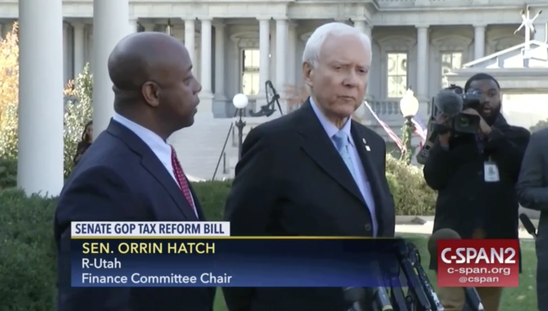 Sen. Orrin Hatch, R-Utah, at the White House on Monday talking about a tax overhaul bill. Hatch issued a statement Tuesday welcoming Trump to Utah, where the president is expected next week to shrink to national monuments in Utah.