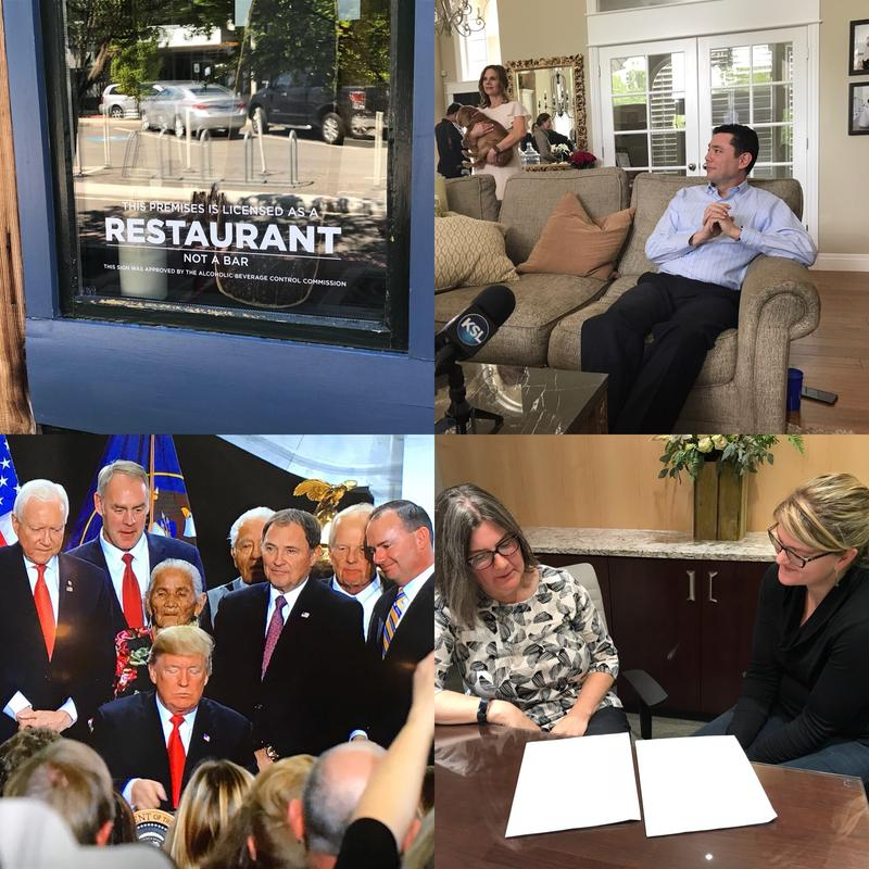 From top left: New DABC signs went up; Rep. Chaffetz stepped down; Nurse Alex Wubbels sees justice; and President Trump shrinks two monuments.