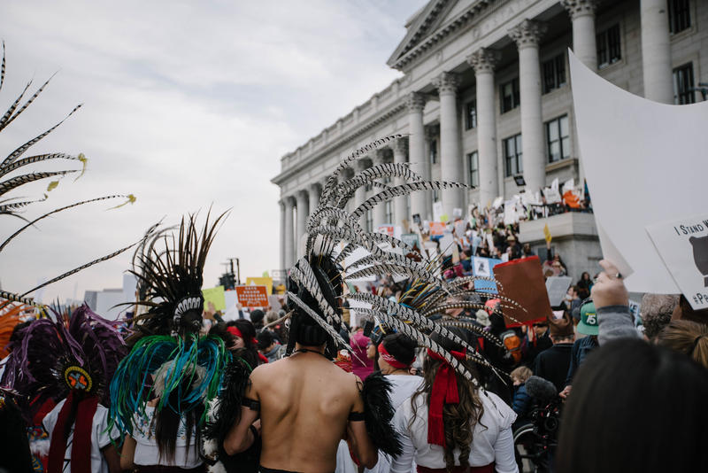 Native American groups were among those who demonstrated Saturday ahead of Trump's visit to Salt Lake, when he is expected to announce dramatic reductions to two Utah monuments.