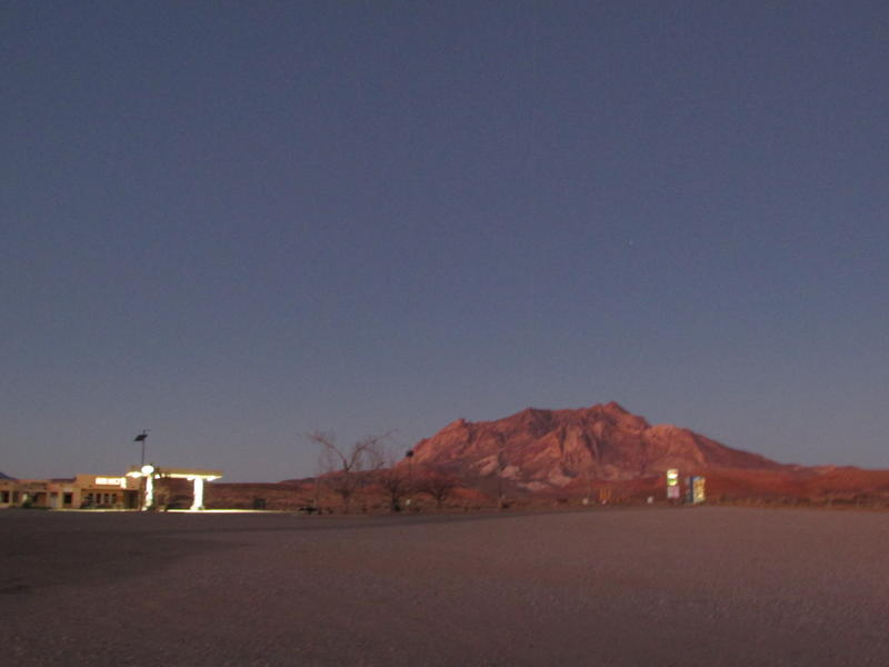 The Ticaboo, Utah, resort at sunset, Dec. 5. The hotel, cafe and convenience store were closed, and only a few lights were on in the village just up the road. It's usually quiet in winter in this summer resort spot near Lake Powell.