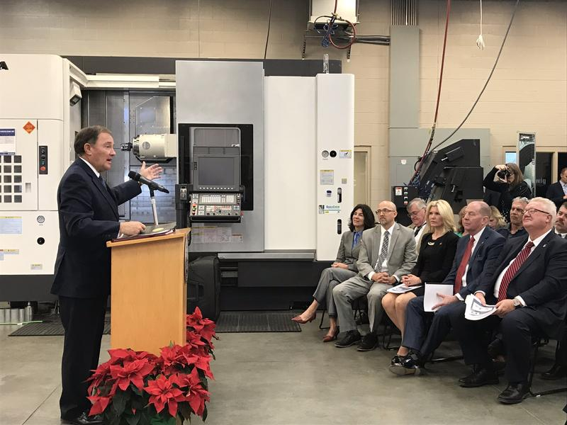 Gov. Gary Herbert goes over his FY19 budget proposal at Davis Technical College.
