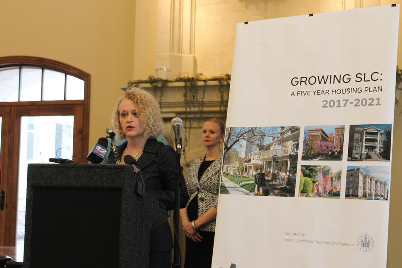 Salt Lake City Mayor Jackie Biskupski unveils her new affordable housing plan in February 2017.