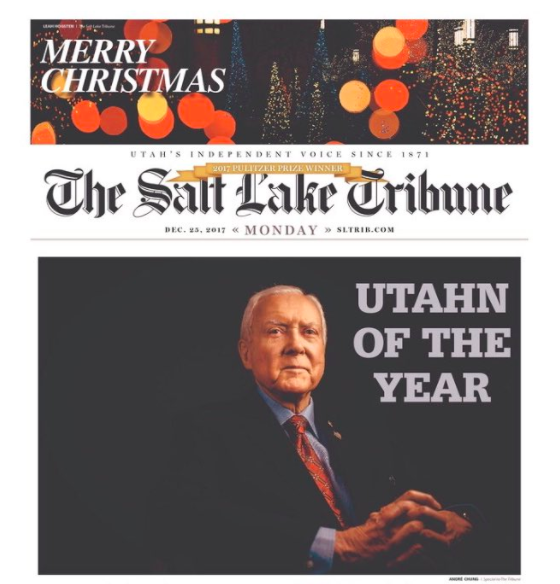 The Salt Lake Tribune named Sen. Hatch their 2017 Utahn of the Year, but the editorial board said that wasn't intended as a compliment.