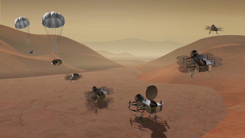 A rendering of the Dragonfly rotorcraft lander.