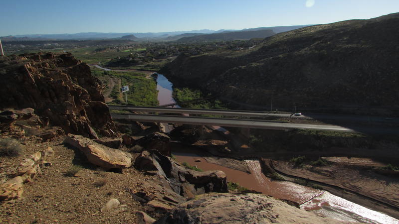 The Virgin River, shown here flowing through St. George, is the main water source for Washington County, so the state has applied to the Federal Energy Regulatory Commission to build a pipeline to bring water from Lake Powell.