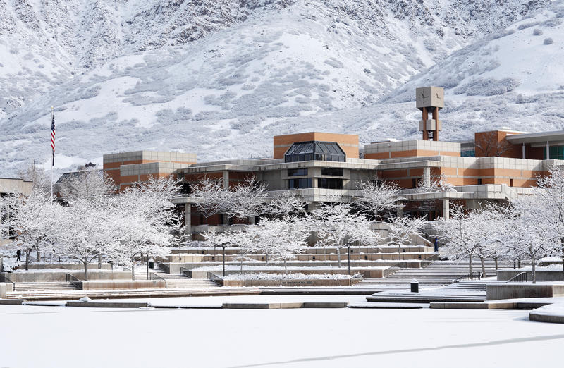 A snow covered Weber State University, where the student body is expected to grow by 25 percent in the next 10 years.