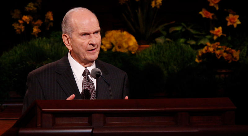 Nelson speaking to church members in 2014.