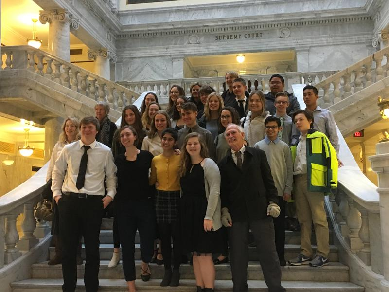 Students from 15 Utah high schools, led by a contingent from Logan High, led the campaign for the resolution on environmental and economic stewardship that passed a House committee on Thursday. Members of the coalition posed for a picture after the vote.