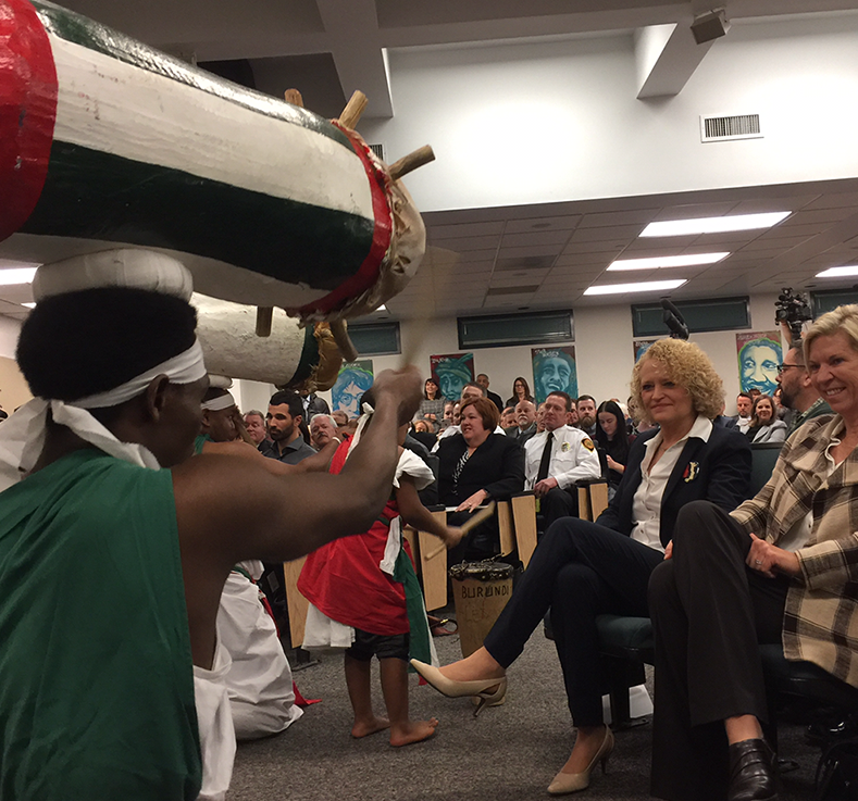 Jambo Africa performs for Salt Lake City Mayor Jackie Biskupski before the mayor gave her State of the City address.