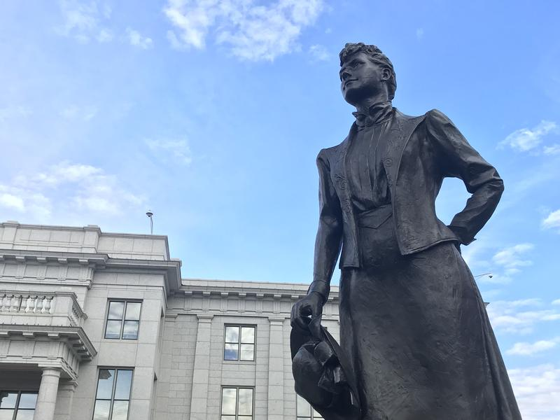 A statue of Martha Hughes Cannon stands outside the Utah State Capitol.