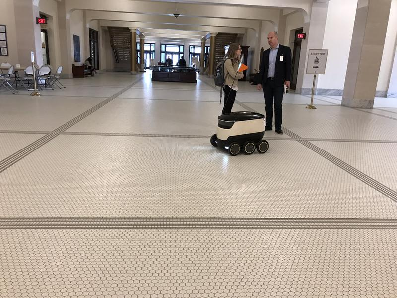 Starship Technologies demonstrates their personal delivery technology at the Utah State Capitol.