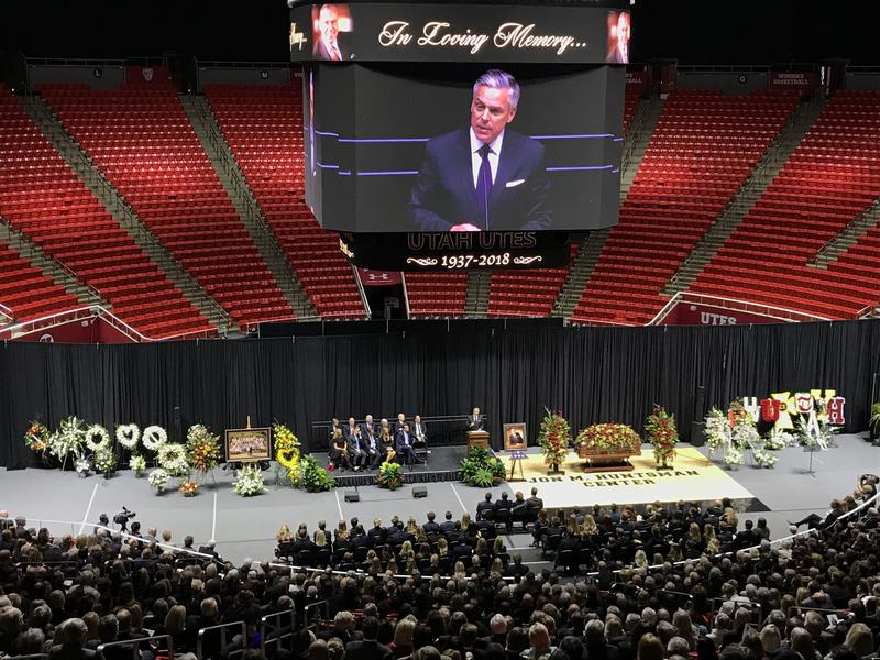Jon Huntsman Jr. speaks at his father's funeral services on Saturday, Feb. 10 at the University of Utah.