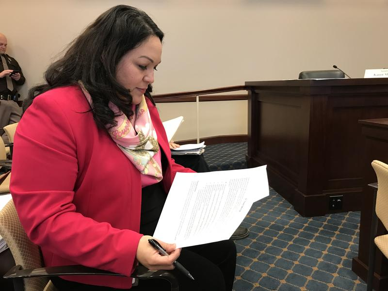 Sen. Luz Escamilla, D-Salt Lake, prepares to present S.B. 152, comissioning an equal compensation study.