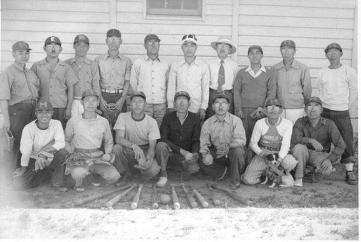 Internees of all ages played sports, including baseball and football.