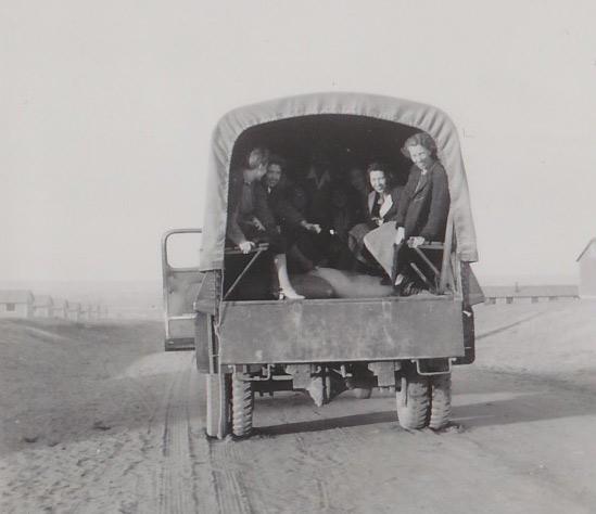 Trucks took internees from the train to Amache, outside Granada, Colorado.