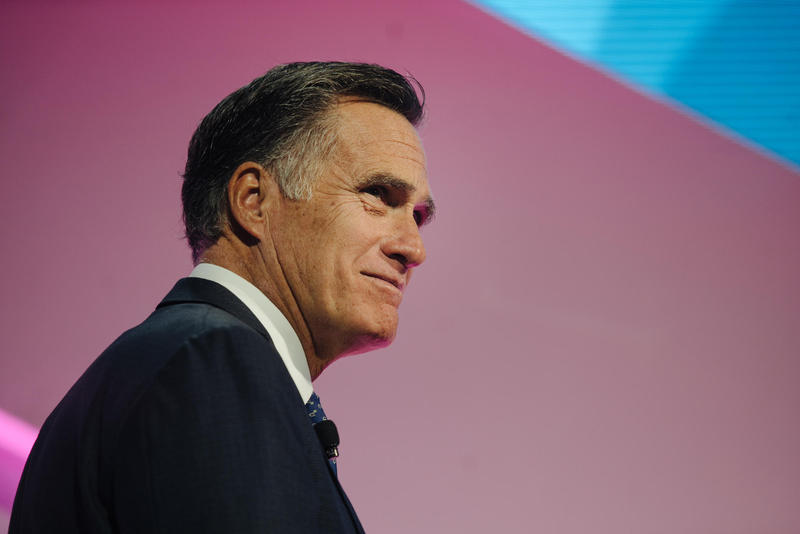 Mitt Romney speaks during the Silicone Slopes summit in January.