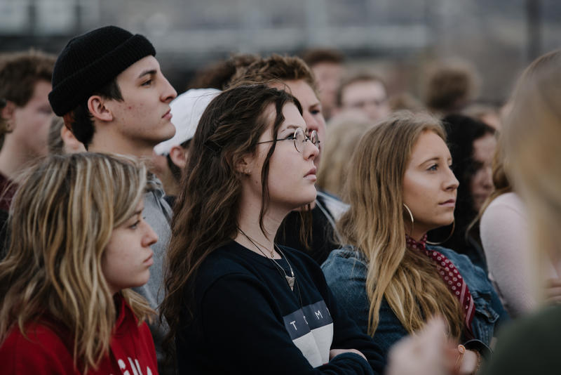 Students participate in a school walkout in support of gun safety earlier this month.