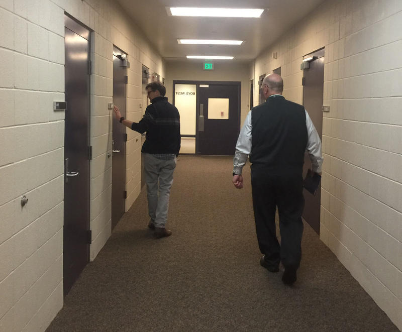 Psychiatrist Dr. Paul Whitehead and Hospital Director Don Rosenbaum tour the closed forensic unit.