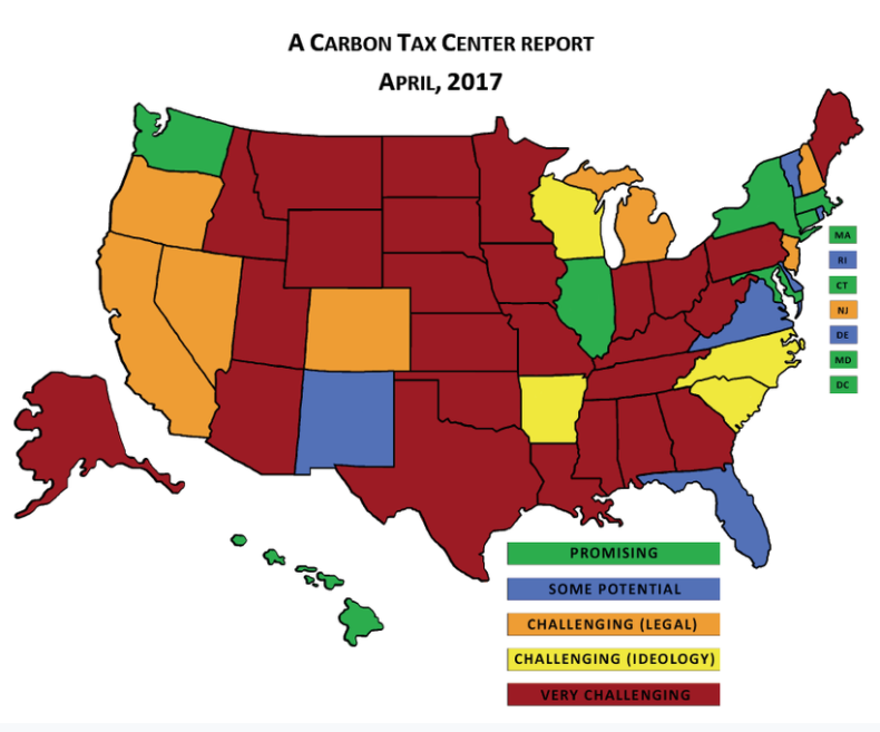 The Carbon Tax Center assessed the obstacles to enacting carbon taxes state-by-state.