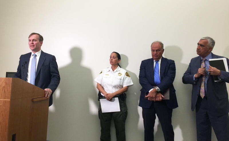 Salt Lake County Mayor Ben McAdams joins Sheriff Rosie Rivera, former Arizona Attorney General Grant Woods and Salt Lake County District Attorney Sim Gill to announce the lawsuit against 19 opioid manufacturers and distributors.