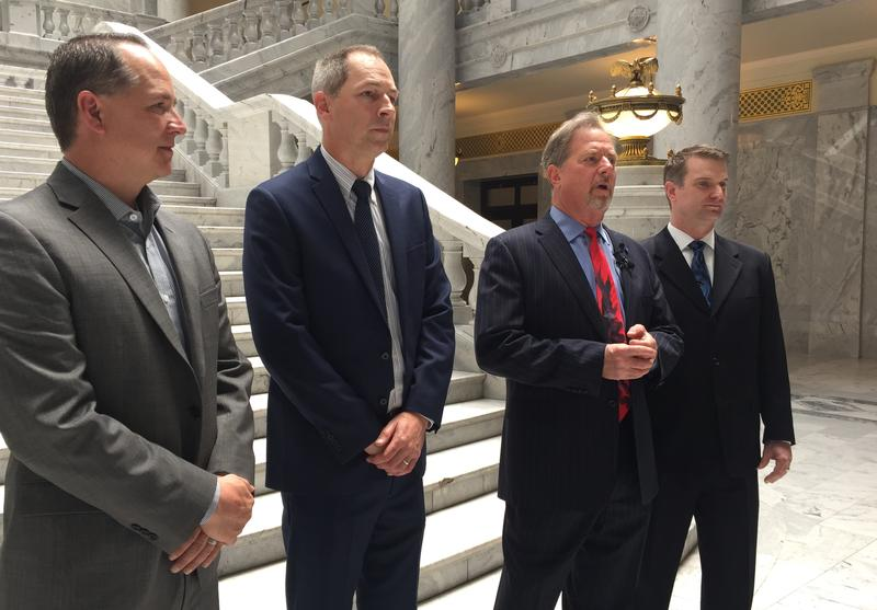 Weber County Commissioner James Ebert and County Attorney Chris Allred spoke alongside attorneys Colin King and Matthew McCune who are representing the county in a lawsuit against opioid manufacturers and distributors, and several doctors.