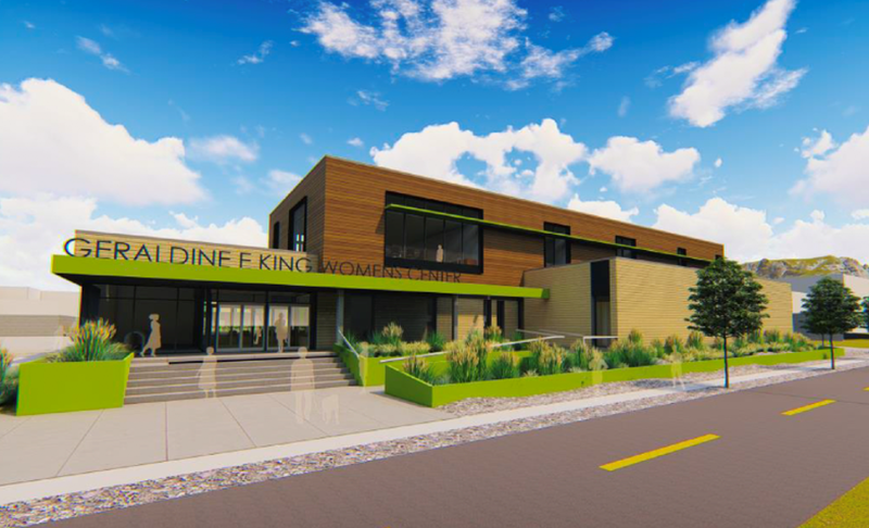 A rendering of the Geraldine E. King Women's Resource Center