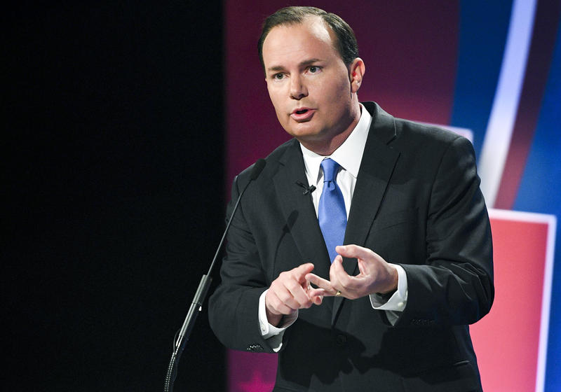 Sen. Mike Lee during his 2016 Senate debate. Lee and his brother, state Supreme Court Justice Thomas Lee, are said to be on Trump's short list for the Supreme Court.