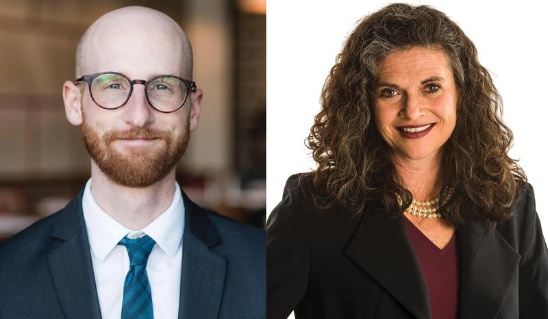 Derek Kitchen and Jennifer Plumb are running in Senate District 2's Democratic primary.