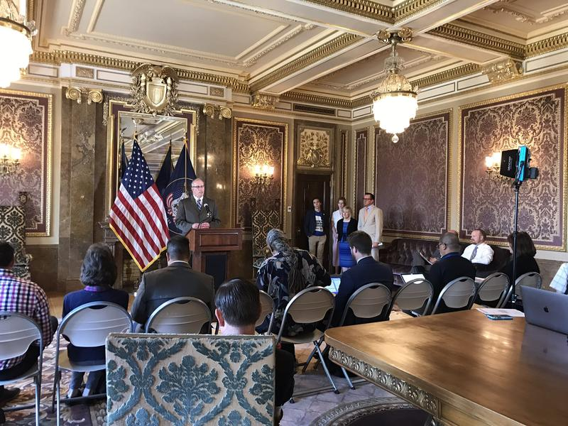 Public Safety Commissioner Keith Squires speaks at a press conference June 20 on the Utah Safe Schools Commission's recommendations.