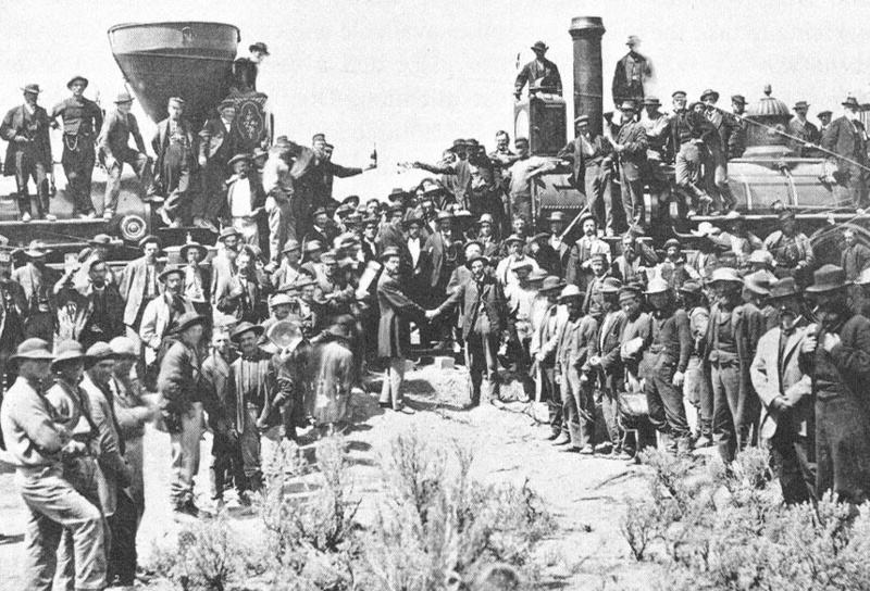 The ceremony commemorating the driving of the golden spike on the first transcontinental railroad in North America, May 10, 1869.