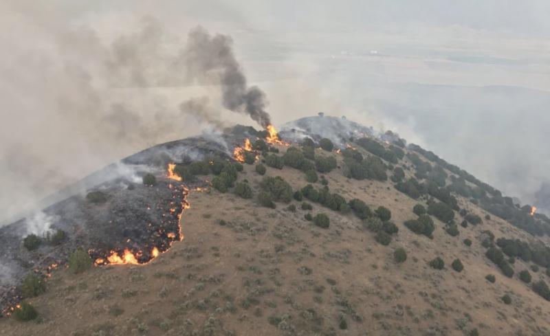The Rough Canyon Fire burning near Portage, Utah, June 27,2018.