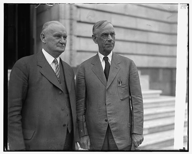 Rep. Willis C. Hawley, left, and Utah Sen. Reed Smoot, right, sponsored the Smoot-Hawley Act in 1929, raising tariffs on imported goods. The legislation slowed trade and provoked retaliatory duties from other nations at the start of the Great Depression.