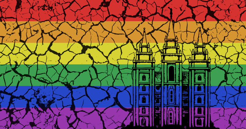 An illustration of a rainbow flag with a sketch of the Salt Lake temple on top. The entire thing is cracking like mud.