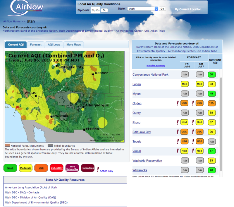A screen shot from the EPA's AirNow web page showing elevated levels of pollution in much of Utah.