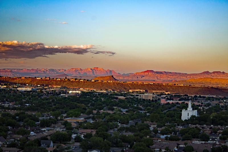 Aerial view of St. George, Utahl.