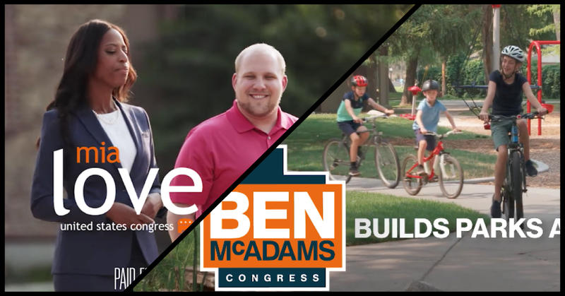 split screen of Love and McAdam's campaign commercials.