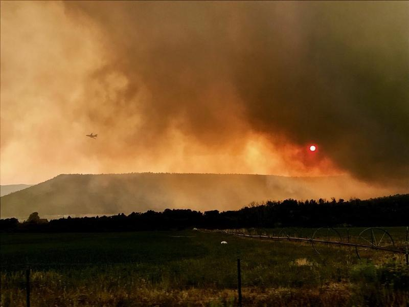 A photo of the Hilltop Fire in rural Sanpete County.
