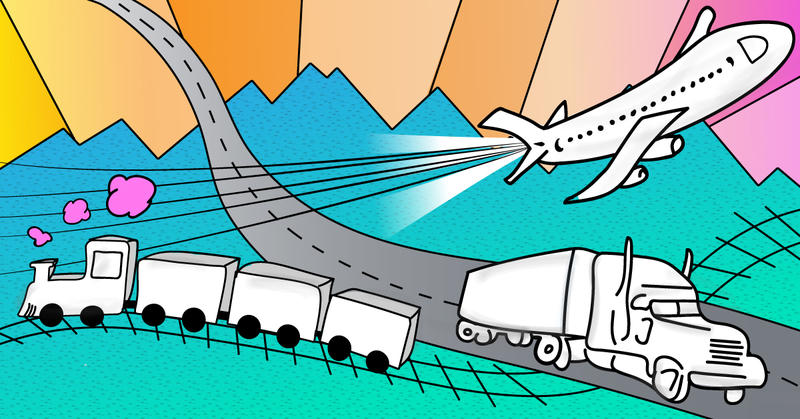 Illustration of a train, semi truck and airplane in front of mountains.