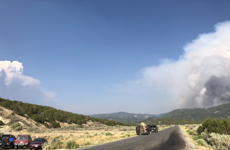 Plumes from two fires in central Utah, the Coal Hollow Fire on the left and the Hilltop Fire on the right. Flames from both are scorching tinder-dry central Utah.
