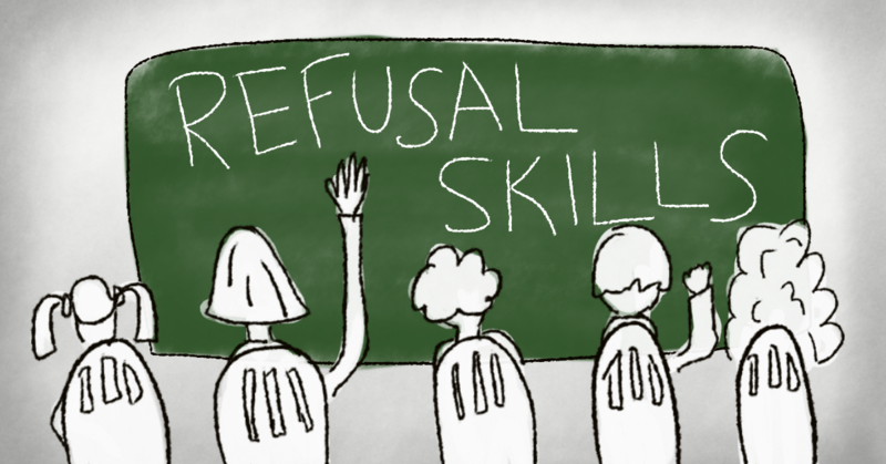 "Drawing of students in front of chalkboard that reads ""refusal skills."""