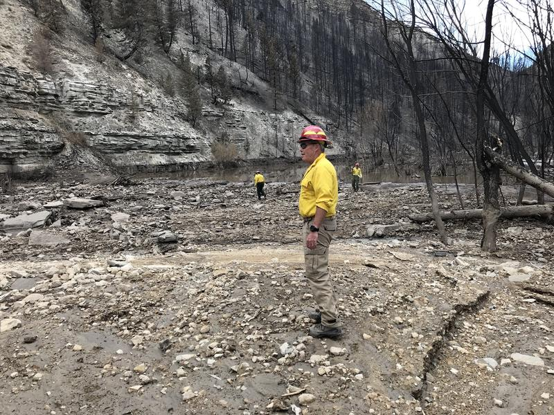 Brian McInerney, a hydrologist with the National Weather Service, keeps tabs on the human impacts of weather events like landslides and flashfloods. This summer, like most summers, he checked how wildfire damaged the soil. This photo is from Dollar Ridge.