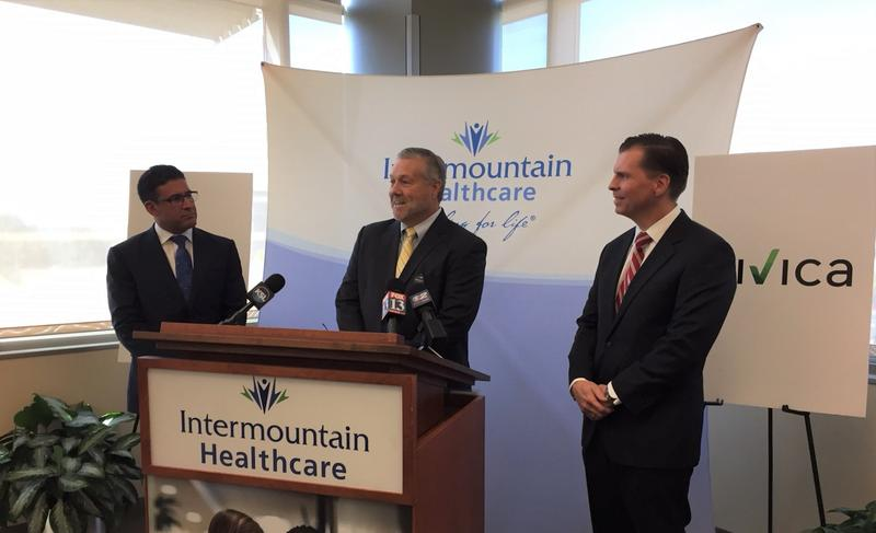 Intermountain Healthcare CEO Marc Harrison, Civica Rx CEO Martin VanTrieste and Intermountain Chief Strategy Officer Dan Liljenquist introduced the drug manufacturing company Civica Rx.