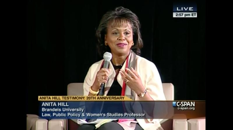 Screenshot of Anita Hill on C-SPAN