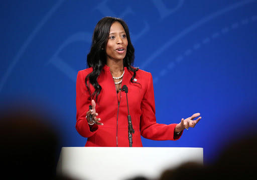 Photo of Mia Love at podium.