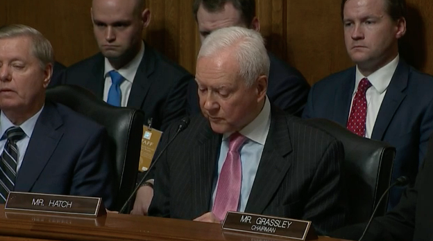 Image of Sen. Orrin Hatch in judiciary hearing.
